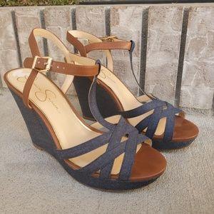 Jessica Simpson wedge heel sandal denim shoes